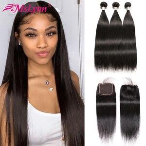 Image 1 - Pacotes de cabelo em linha reta com fecho de cabelo brasileiro tecer pacotes com fecho de cabelo humano pacotes com fecho mslynn remy cabelo