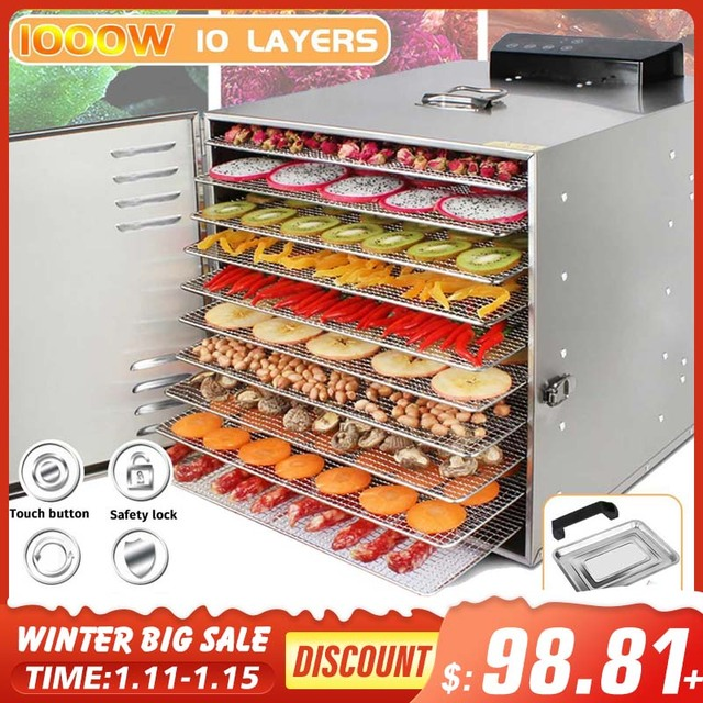 10 Trays Food Dehydrator Snacks Dehydration Dryer Fruit Vegetable Herb Meat Drying Machine Stainless Steel 110V 220V 1000W