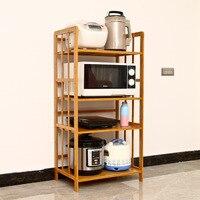 رف فرن الميكروويف متعدد الوظائف الخيزران تخزين الرف منظم مطبخ الرف فرن بسيط طبقة الفضاء قابل للتعديل