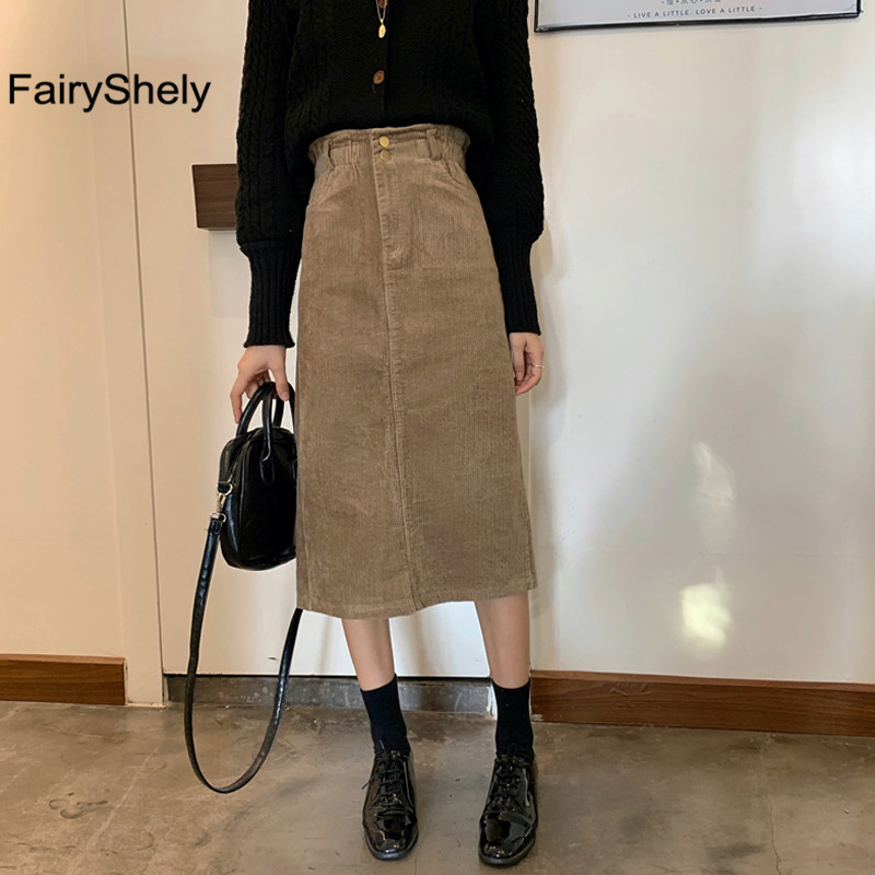 FairyShely Vintage Long Skirt Womens 2020 Corduroy Split Skirts Elegant Korean Style Fashion Pocket High Waist Midi Skirt Femme