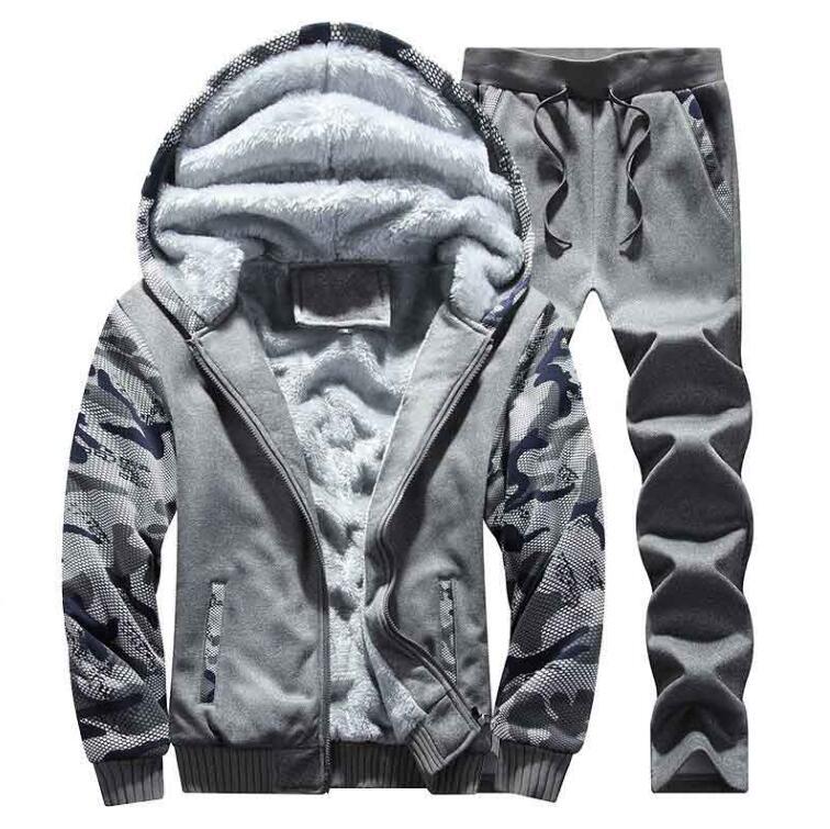 Men's Tracksuit Winter Mens Warm Set Fleece Track Suits For Men Brand Thicken Clothing Mens Suits Male Big Size 4XL