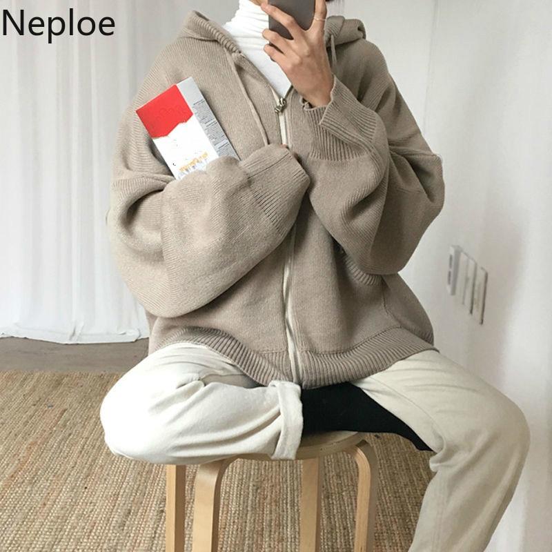 Neploe Oversized Sweaters Cardigan Hooded-Jacket Winter Clothes Harajuku Korean Casual
