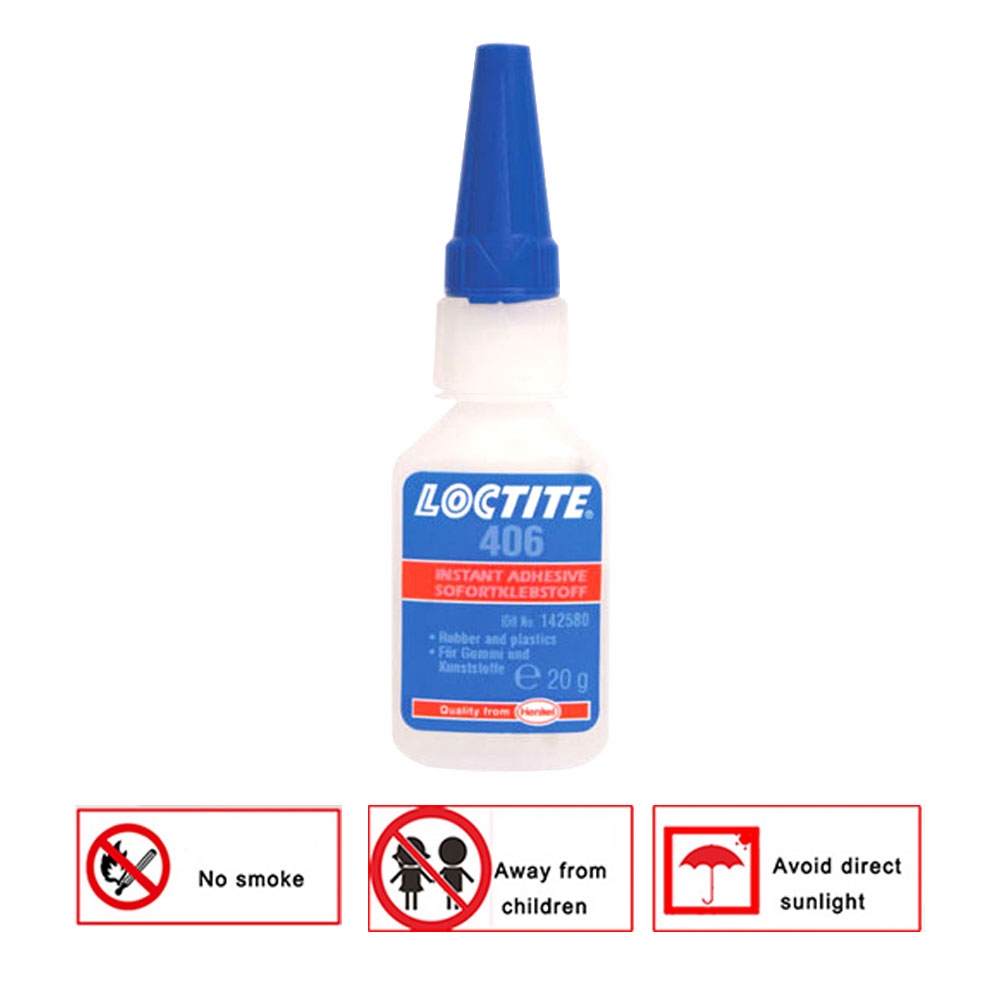 Super Glue Adhesive 20ml Repairing Tool Cars Self-Adhesive 406 Instant Surface Loctite 406 Plastic Fast Home Office Supply