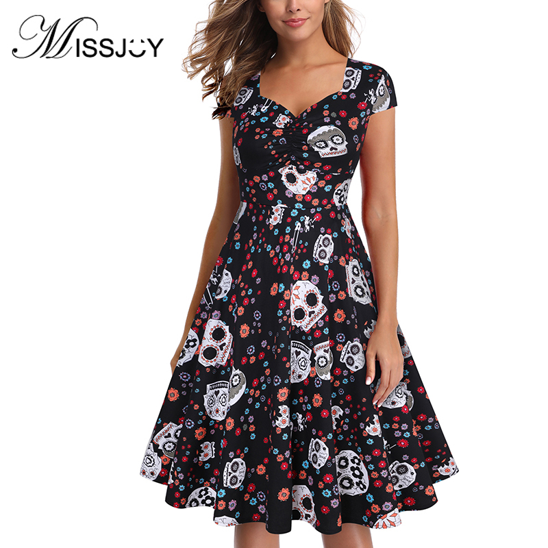 MISSJOY kleid Skull Dress rockabilly Plus Size Halloween Satin Sexy Dresses Women Party Night Vintage Vestidos Verano 2018 NEW