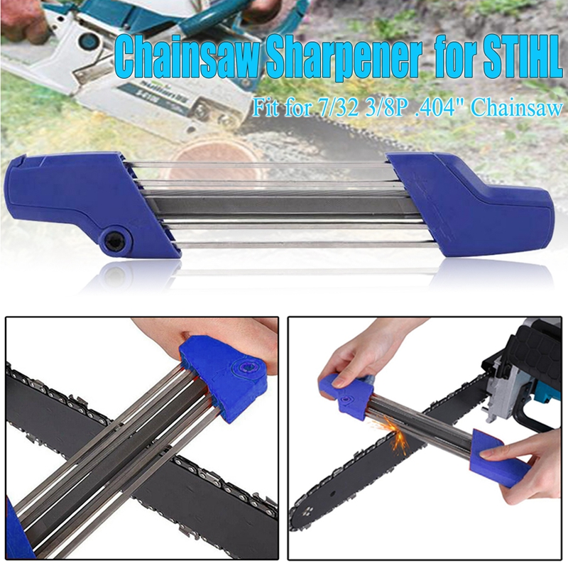 Blue 2 IN 1 7/32 5.5mm Chainsaw Chain Quick Chain Saw File Sharpener Sharpening Kit Accessory For Stihl 3/8p .404 Inch Tool