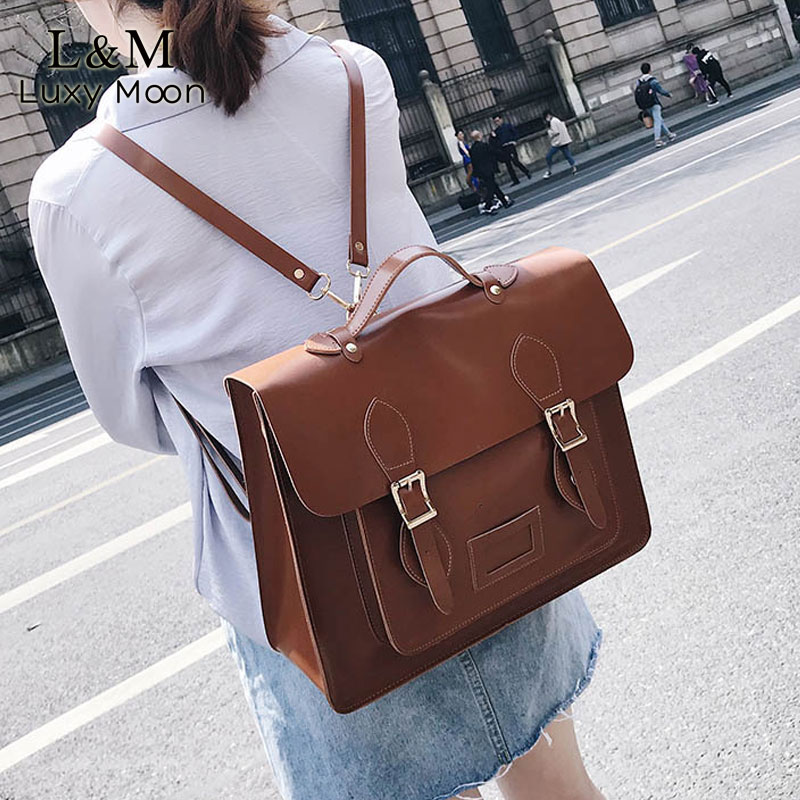 Multifunction Backpack Retro Female Big Bag Women's Designer Backpacks Quality PU Leather Women Shoulder Bags Mochila XA649H
