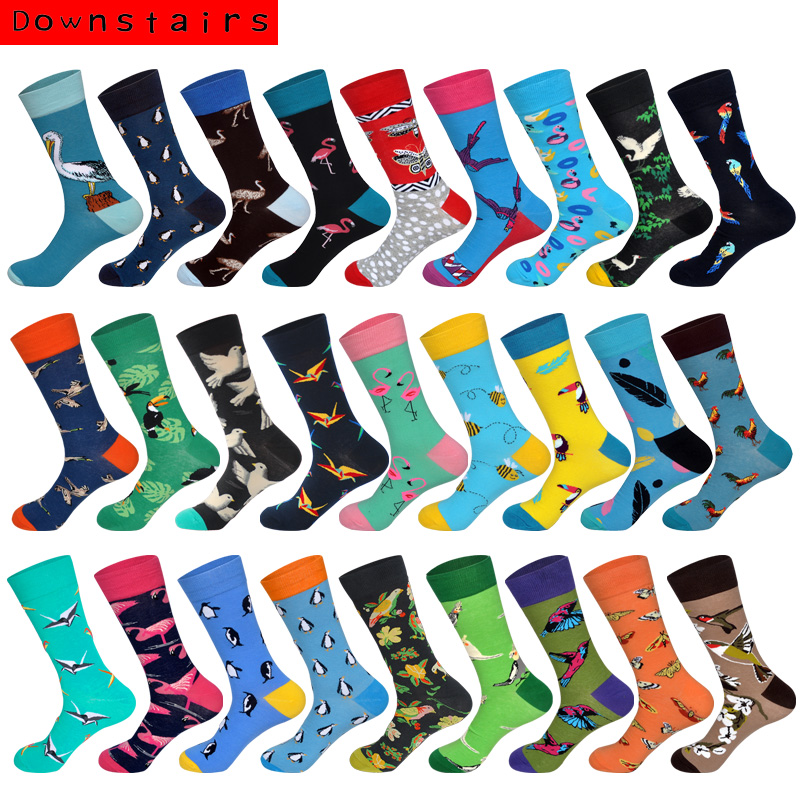 Downstairs Brand Desgin Happy Socks For Mens Gifts 28 Colors Birds Flamingos Penguins Streetwear Dress Up Long Casual Calcetines