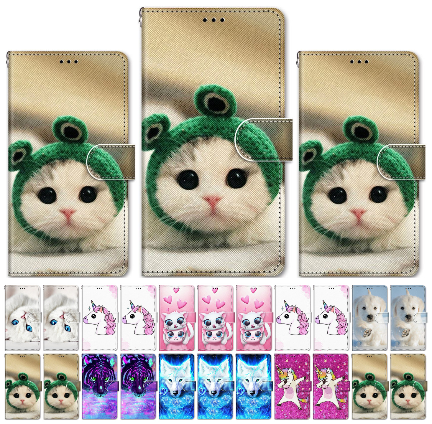 Lovely Cat Dog Flip <font><b>Phone</b></font> <font><b>Case</b></font> For <font><b>Samsung</b></font> Galaxy A3 2015 <font><b>A5</b></font> <font><b>2016</b></font> A6 A7 A8 2018 A9 Star Pro A750 A530 A520 A510 S5 Flip Box P08F image