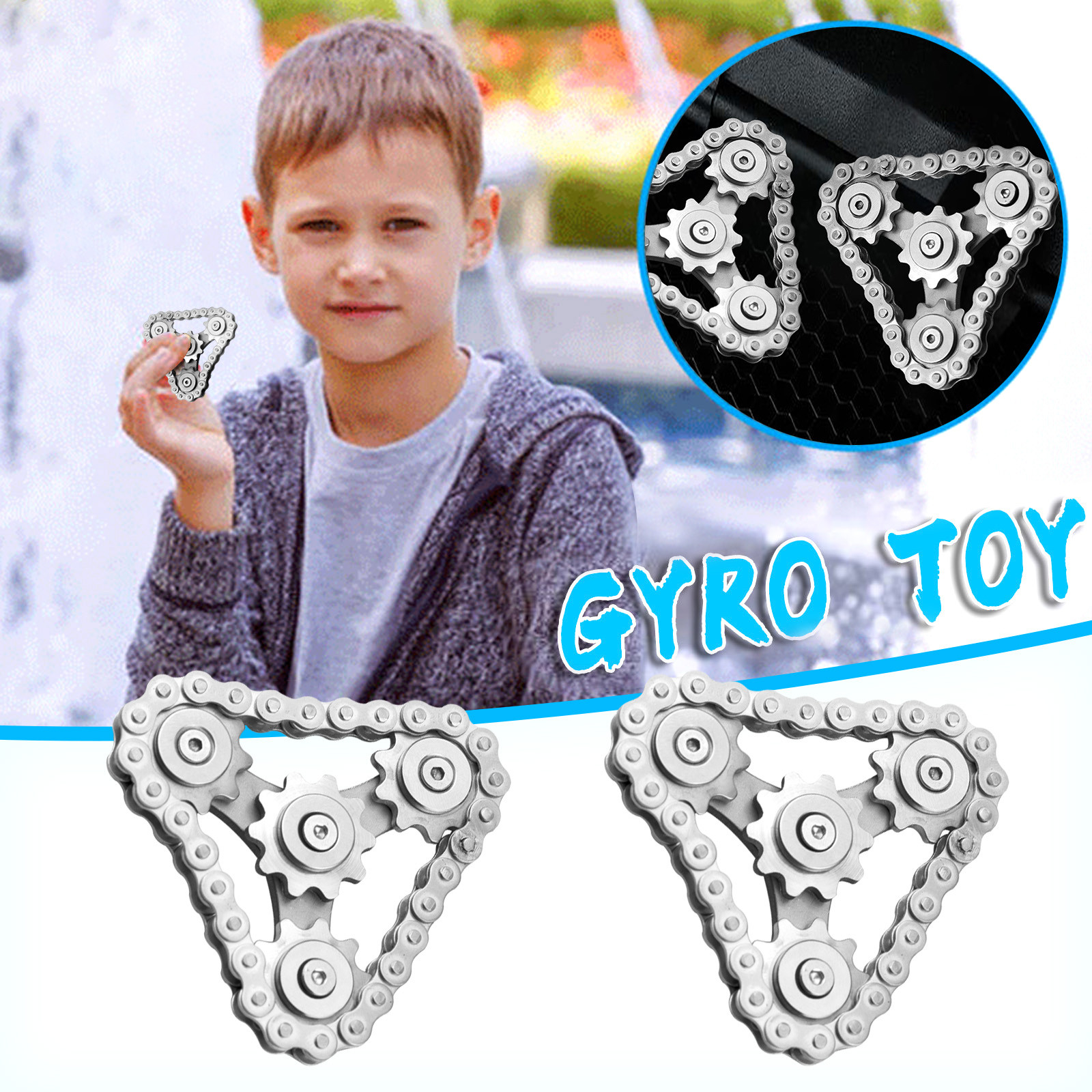 New Sprockets Flywheel Spinner Fingertip Gyro Gear Chains EDC Metal Fidget Stress Relieve Pressure Release Toys Funny Gift enlarge
