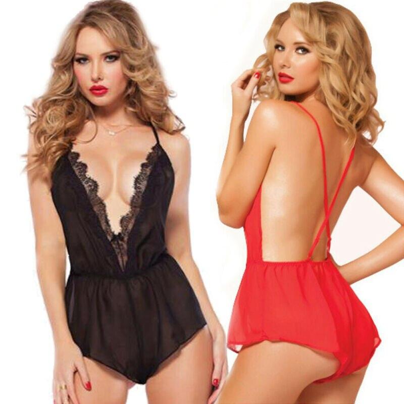 Sexy-Lace-Babydoll-Nightwear-Women-Mini-V Neck-Lingerie-Underwear-Set-Sleepwear  One Size