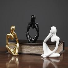 Mini personagem estátua pensador resina abstrata escultura casa sala de estar decoração ornamentos mobiliário desktop