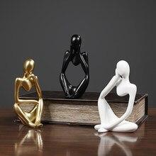 Statue de penseur en résine, Sculpture abstraite, petits ornements, artisanat de décoration pour la maison, Figurines modernes pour l'intérieur