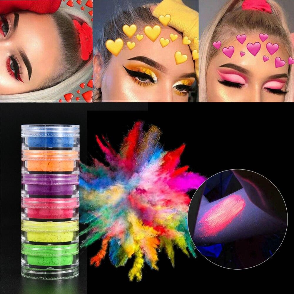 6 цветов/набор, флуоресцентные матовые тени для век