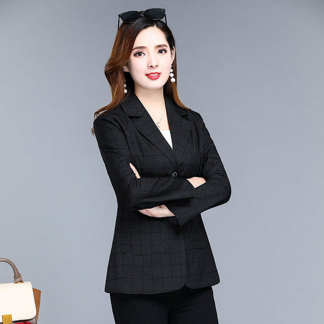 PEONFLY Spring Jacket Women Coats Retro Plaid Outwear Casual Turn Down Collar Office Wear Work Single Breasted Jackets Blazer 4