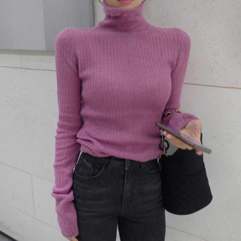 TWOTWINSTYLE 화이트 한국어 니트 스웨터 여성용 터틀넥 긴 소매 가을 슬림 풀오버 여성 의류 패션 뉴 2020