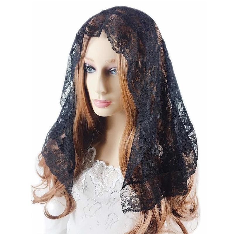 Black Ivory Short Mantilla Veil For Church Vintage Catholic Veil Bridal Head Covering Scarf Latin Mass Velo Negra Voile Mantille