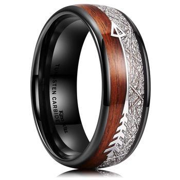 8mm Titanium White Silk Wood Grain Arrow Ring 5