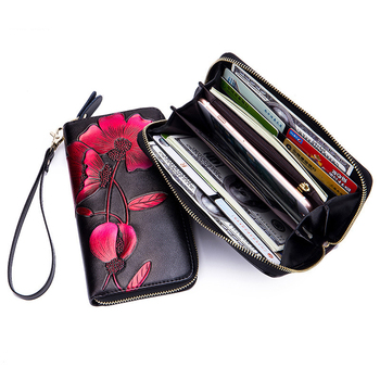 8PCS / LOT Women Long Leather Zipper Wallet RFID Fashion Lady wallet Flower Vintage Floral Wallet