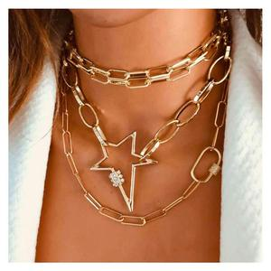 Lislesp Multi Layer Gold Color Metal Star Carabiner Chunky Chain Necklace for Women Vintage Statement Choker Collar Jewelry Gift