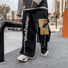 цена на UNCLEDONJM Colour Block Cargo Pants Men Streetwear Hip hop Loose fit Trousers Casual Pants Harajuku Man Fashion V2-1996