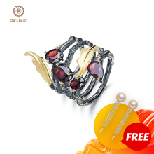 GEMS BALLET 2.75Ct Natural Red Garnet Gemstone Ring 925 Sterling Sliver Vintage Band Leaf Finger Rings For Women Fine Jewelry