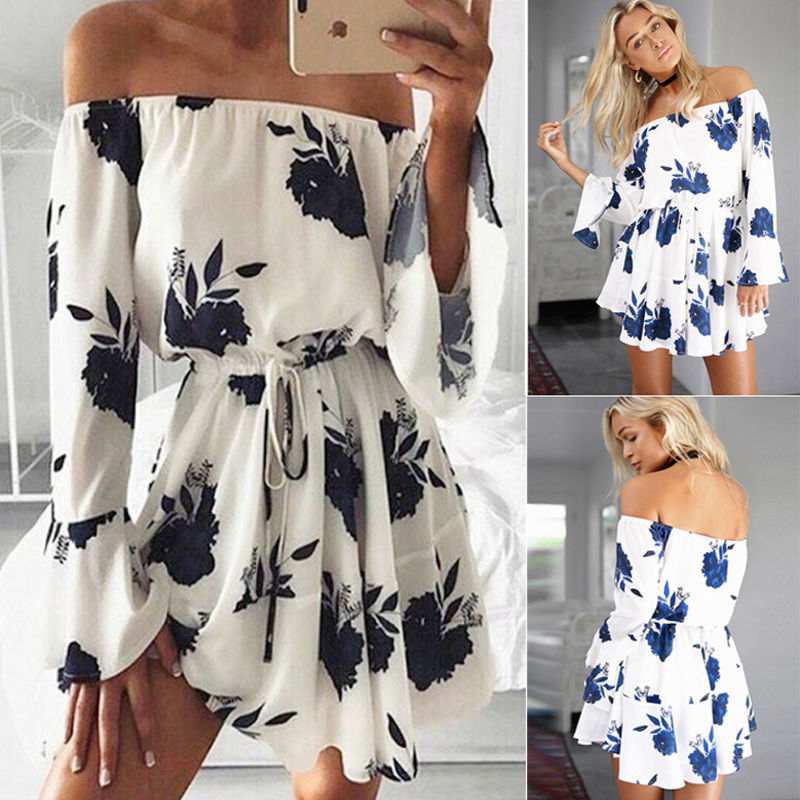 QNPQYX Aliexpress <font><b>Ebay</b></font> Europe Trade Explosion Source Word Shoulder Sexy Backless Dress Vestidos Print dress Beach Dress 6235 image