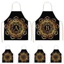 Kitchen Apron Adult Bibs Cook-Wear Linen Alphabet Mandala-Pattern Black Cotton Golden