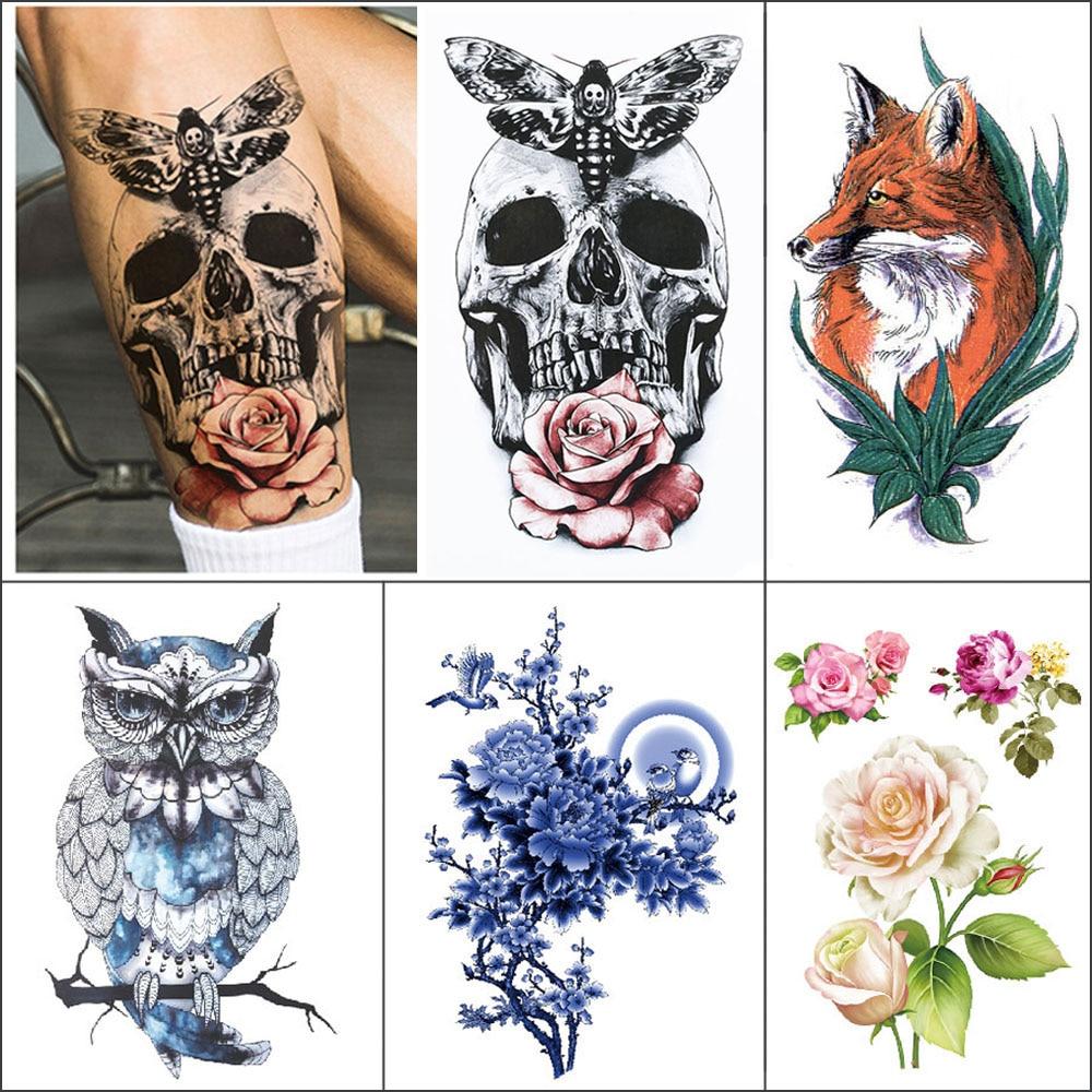 1 Piece Temporary Waterproof Tattoo Sticker Flower Owl Bird Skull Coloured Arm Fake Tattoo Small Body Art Tattoo Sticker