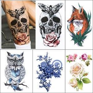 1 pieza tatuaje temporal a prueba de agua pegatina flor búho pájaro cráneo colorido tatuaje falso para brazo pequeño arte tatuaje pegatina