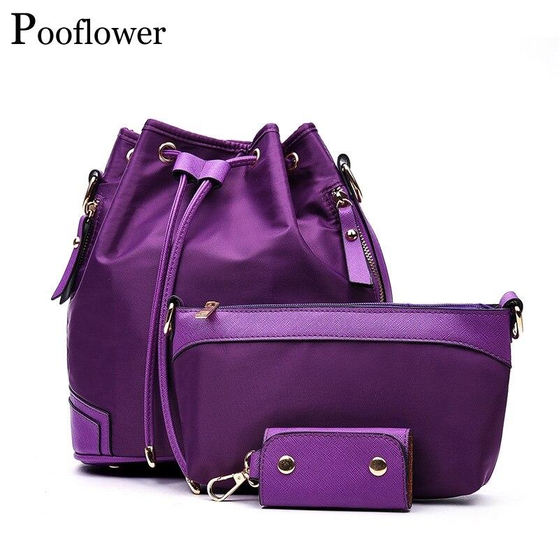 Pooflower Женские повседневные однотонные нейлоновые рюкзаки 3 шт. комплект композитных сумок рюкзаки на плечо сумка чехол для ключей рюкзаки ...