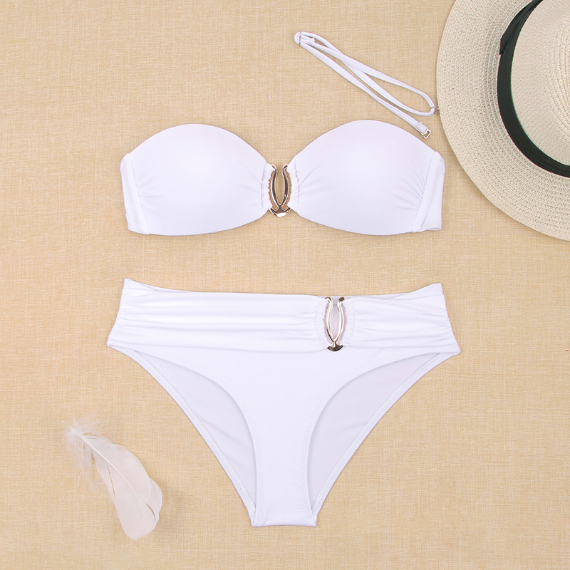 Hc8bac359cc0548feae6cd7d75ce19566L - Sexy Bikini Push Up Solid Swimsuit Female Bikinis String Bathing Suit Women Swimwear Bandaeu V Neck Biquini Bikini Set