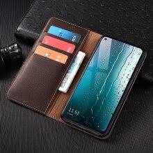Litchi Texture Genuine Leather Wallet Magnetic Flip Cover For Huawei P9 P10 P20 P30 P40 Plus Pro Lite E Case