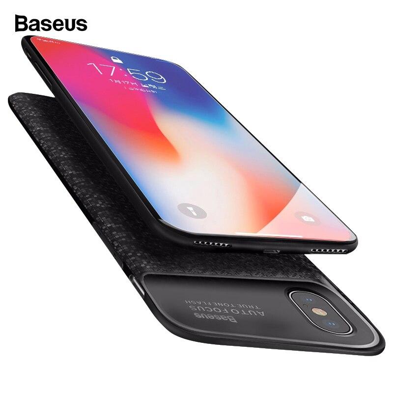 Baseus Batterij Oplader Voor iphone X 10 Ultra Slanke Power Bank Externe Backup Pack Opladen Batterij Cover Voor iPhoneX