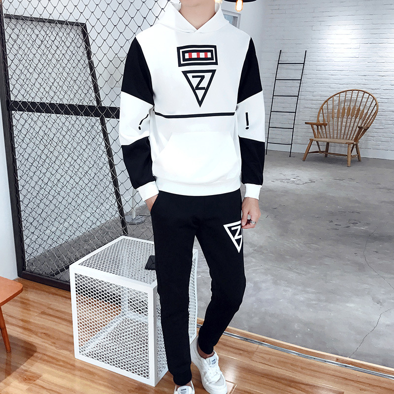 Spring And Autumn New Style Korean-style Men's Leisure Sports Suit Fashion MEN'S Hooded Sweater Pants Two-Piece Set