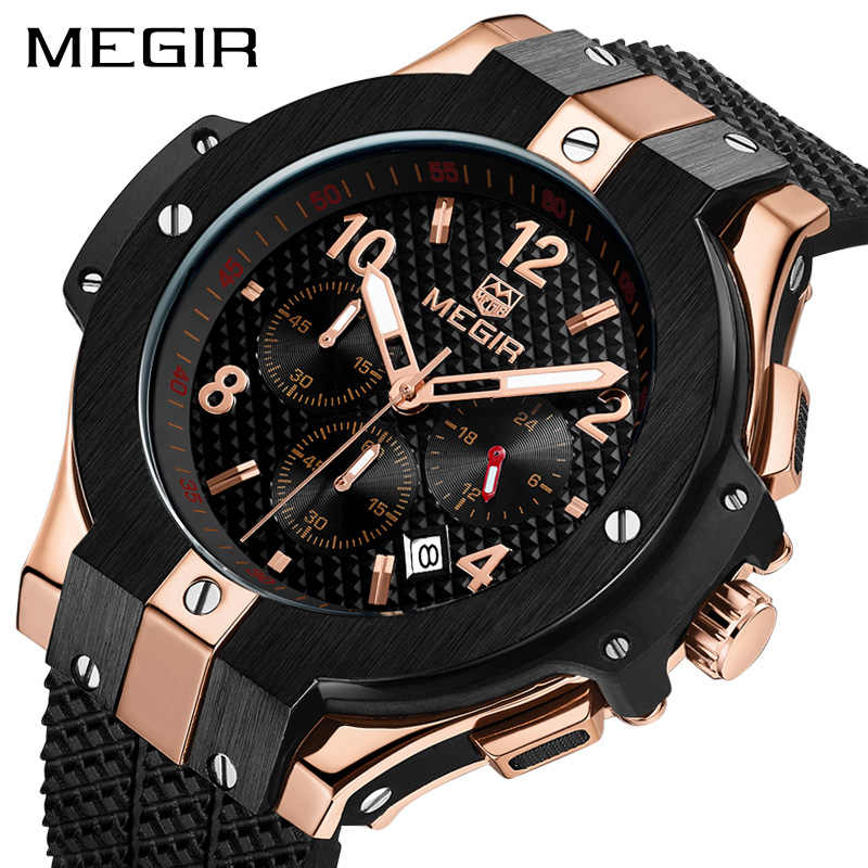 Megir Casual Sport Watches for Men Blue Top Brand Luxury Military Leather Wrist Watch Man Clock Fashion Chronograph Wristwatch