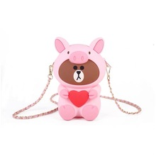 Mobile Phone Bag Pig Head Bear Face Universal For Iphone Samsung Huawei Htc