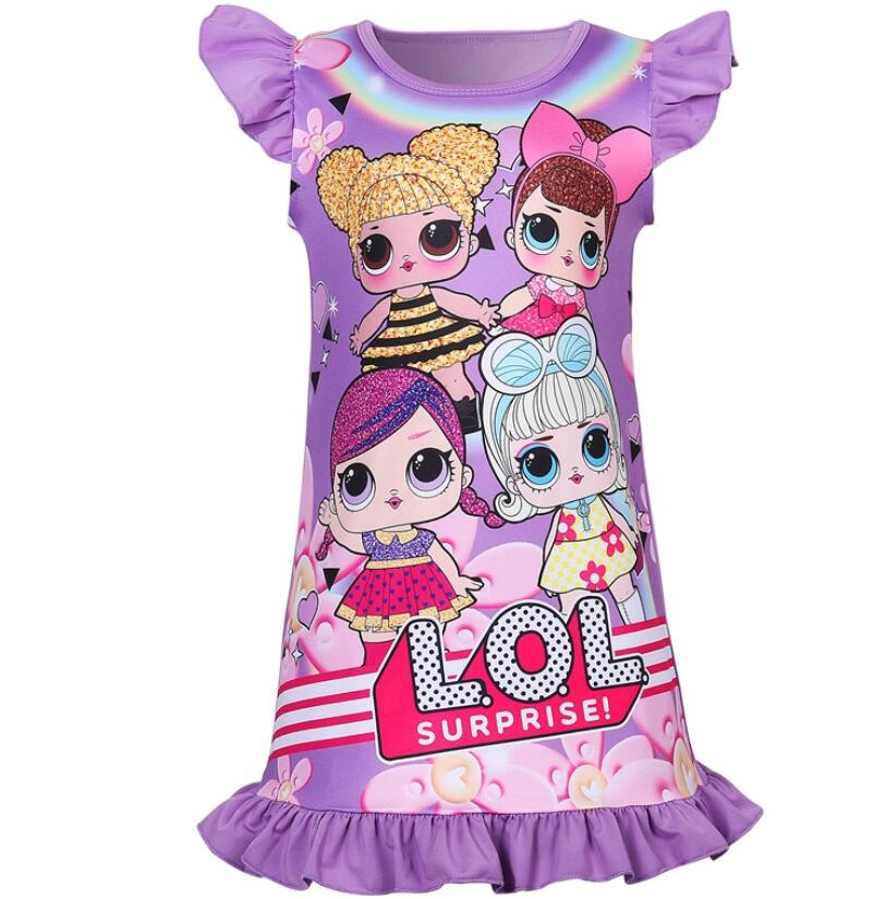 Summer Girls Dresses L.O.L Doll Kids Pajamas Polyester Nightgowns Sleepwear Clothes 3 4 <font><b>5</b></font> 6 7 8 9 Years Homewear Dresses image