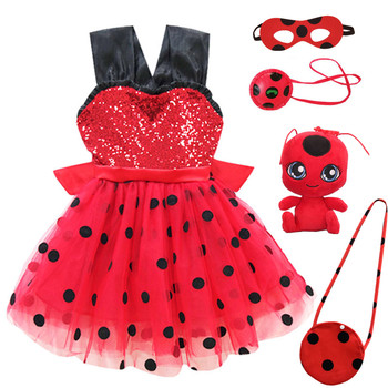 Marinette Girls Red bug Costume Baby Girl Birthday Party Tutu Dress Kids Halloween Redbug Costumes Outfit Ladybird Fancy Dress carnival red bug halloween cosplay costume princess flower girl dress summer tutu wedding birthday party red bug kids dresses