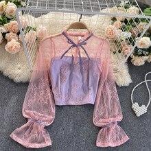2020 wiosenny i jesienny nowy bluzka damska Hollow Lace Up z drewnianymi uszami stojak kołnierz rękaw trąbkowy wąska krótka koronkowa koszula UK809
