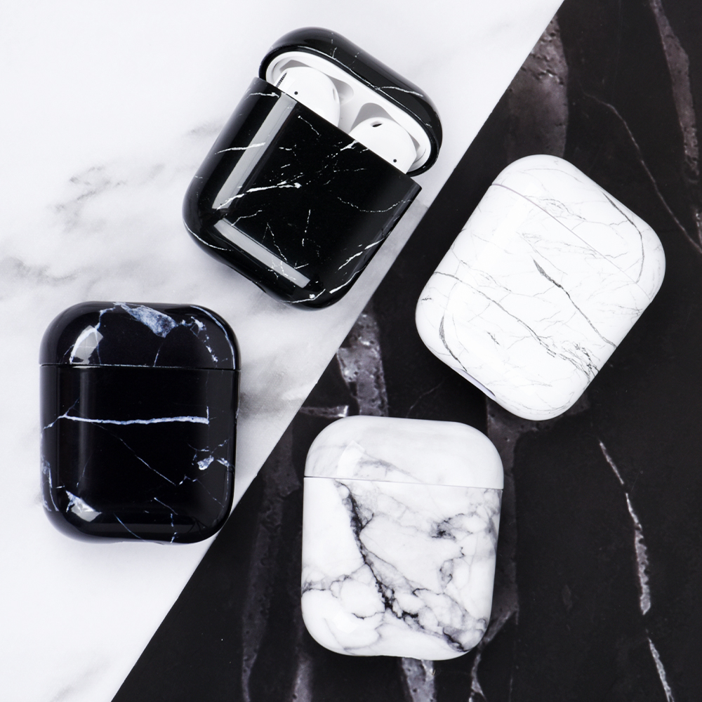 Luxury Marble Hard PC Wireless Earphone Charging Cover Bags For Apple AirPods 1 2 Glossy Wireless Bluetooth Headphone Box Case