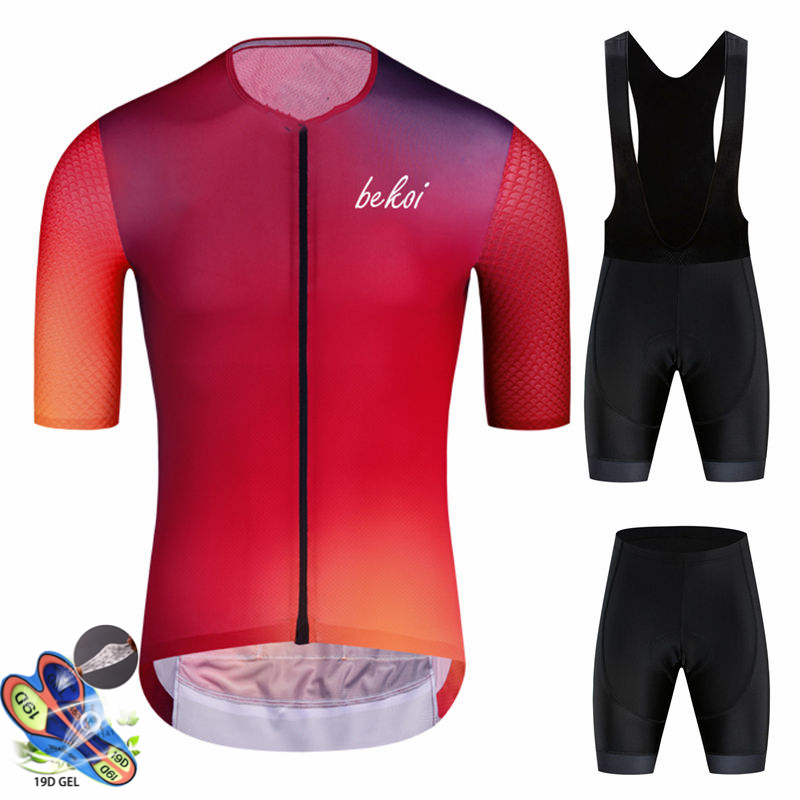 High Order Solid Color Gradient Short-sleeved Cycling Jersey Suit Bib Roa Ciclismo Bicycle Jersey MTB Uniform Men's Clothing