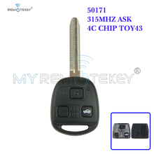 цена на Remtekey 3 buttonTOY43 blade 315mhz with 4C chip car remote key for Toyota Land Cruiser FJ Cruiser 1998 1999 2000 2001 2002