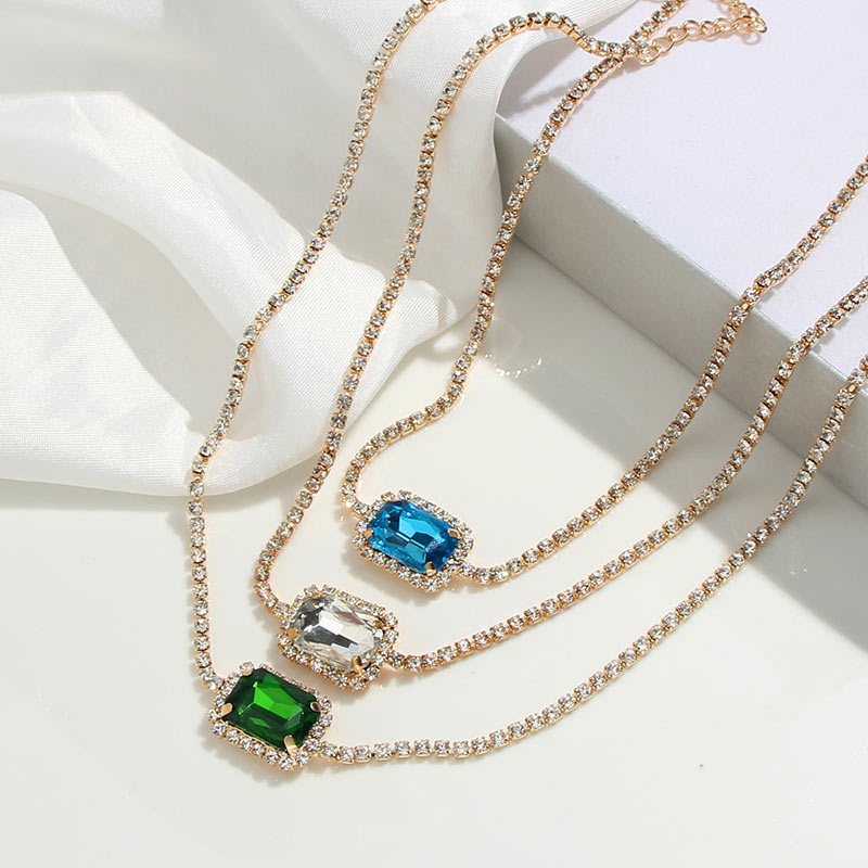 Caraquet Boho Gold Color Rhinestone Chain Choker Necklace For Women Square 3 Color Crystal Pendant Short Necklaces 2020 Jewelry