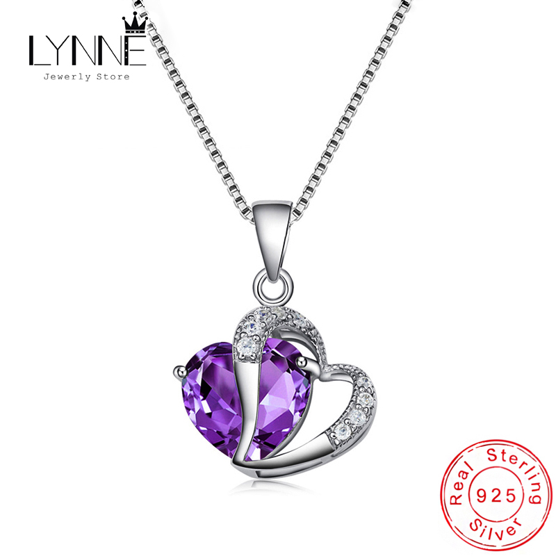 Hot Sale Fashion 925 Sterling Silver Double Heart Liontin Kalung Ungu AAA Cubic Zirconia Drop Kalung Wanita Perhiasan Hadiah