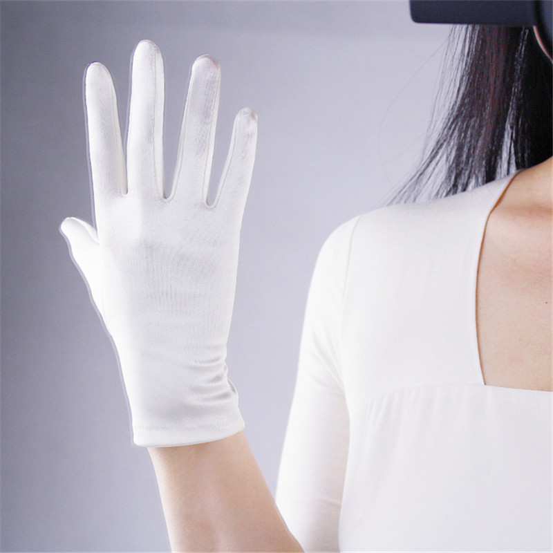 Silk Satin Gloves 22cm Elasticity Mercerized Satin White Beige Pearl  Color Short Sunscreen Gloves Female Bride Married WSG07