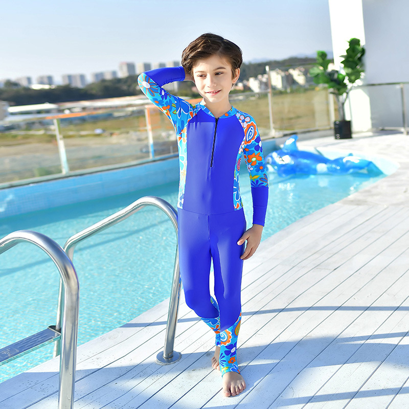 Jellyfish Clothing Sun-resistant Warm Solid Color Printed Joint One-piece Long Sleeve Trousers BOY'S GIRL'S Swimsuit Children Su