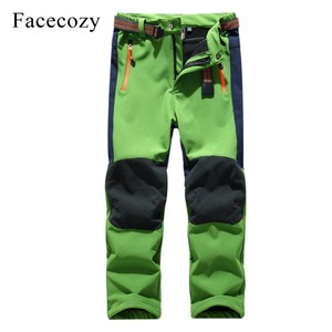 Image 4 - Facecozy Kids Winter Thicken Outdoor Sports Pants With Fleece Windproof Warm Softshell Trousers Children Adventure Camping Pants