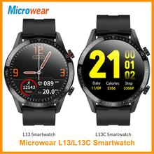 Microwear L13C L13 SmartWatch ekg połączenie Bluetooth IP68 wodoodporne powiadomienia synchronizacja tryby sportowe 1 3 IPS VS L12 inteligentny zegarek tanie tanio CN (pochodzenie) Android OS Na nadgarstku Wszystko kompatybilny 128 MB Passometer Fitness tracker Uśpienia tracker