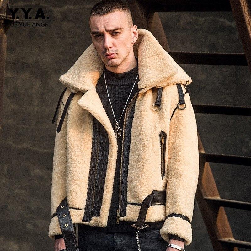 Designer Runway Mens Winter Warm Real Fur Coat Shearling Natural Lamb Fur Jacket Male Motorcycle Leather Loose Fit Wool Overcoat