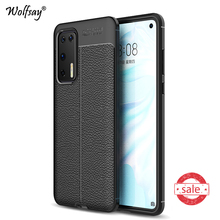 For Huawei P40 Case Shockproof Cover Litchi Pattern Soft Rubber Phone Case Bumper For Huawei P40 Protective Cover For Huawei P40 for cover huawei p40 case huawei p40 coque protective stylish smooth skin pc matte ultra thin phone case for huawei p40 cover